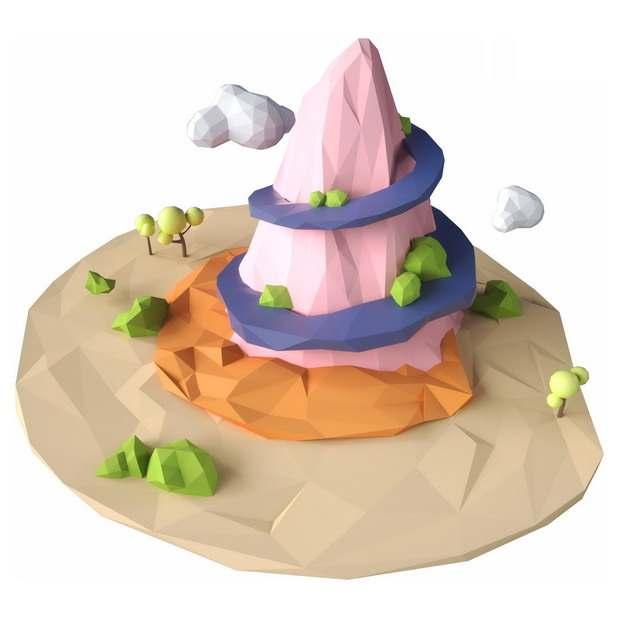 3D立体低多边形风格悬空岛上的粉色高山盘山路和森林风景374063png图片免抠素材