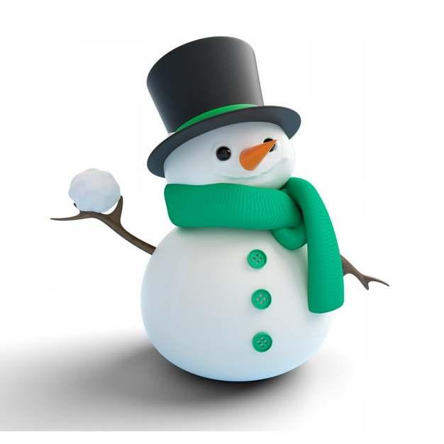 超可爱黑色帽子和绿色围巾的卡通雪人778197png图片素材