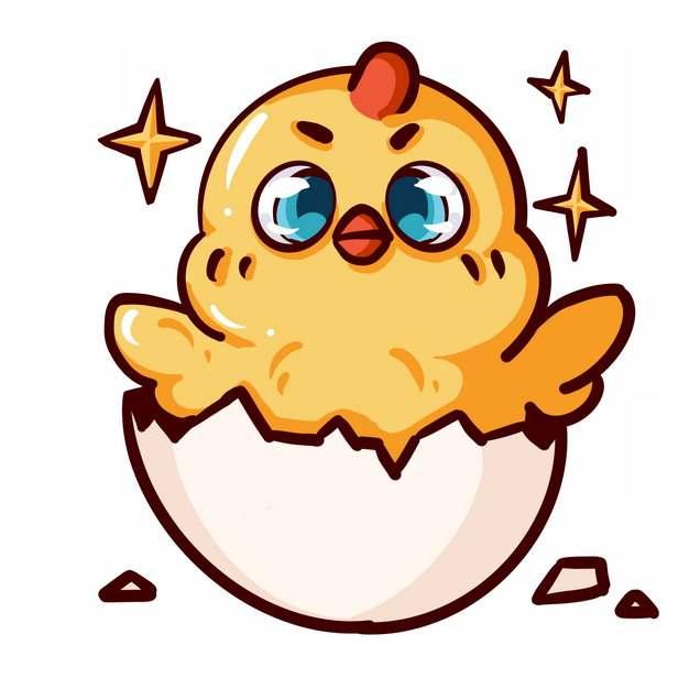 刚出壳的超可爱卡通小黄鸡814502PSD图片免抠素材
