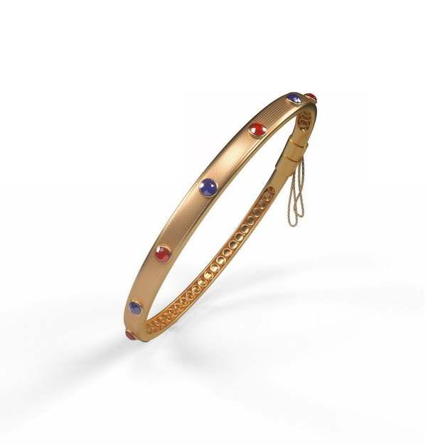 镶着红宝石蓝宝石的金手镯首饰品875696png图片免抠素材