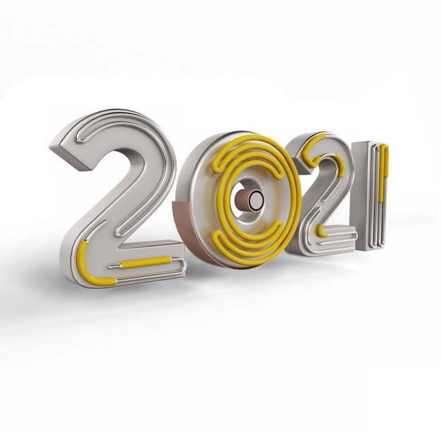 3D立体2021年灯管艺术字体780548png图片素材