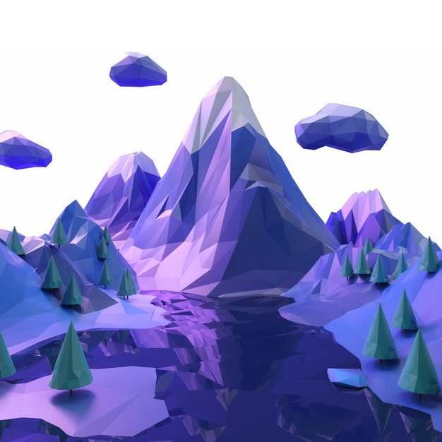 3D立体低多边形风格紫色的雪山和山间的森林风景299170png图片免抠素材