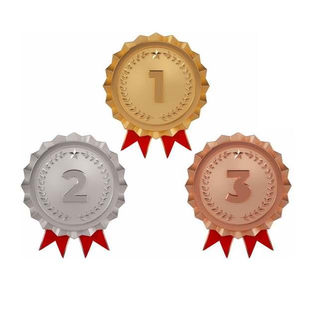 三款金属色的金牌银牌铜牌冠军亚军和季军奖章徽章奖牌185302png图片素材