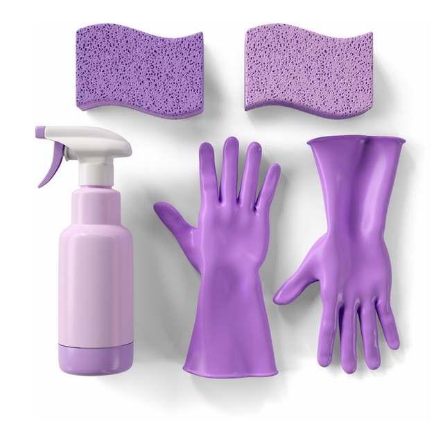 紫色的海绵百洁布海绵擦清洁剂和橡胶手套241110png图片素材