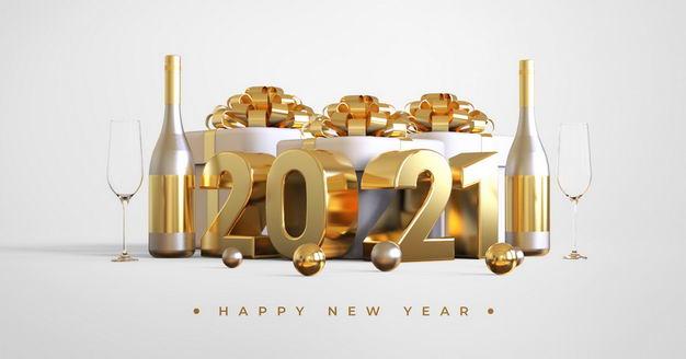 3D立体金色2021年字体和礼物盒香槟酒367723PSD免抠图片素材 节日素材-第1张