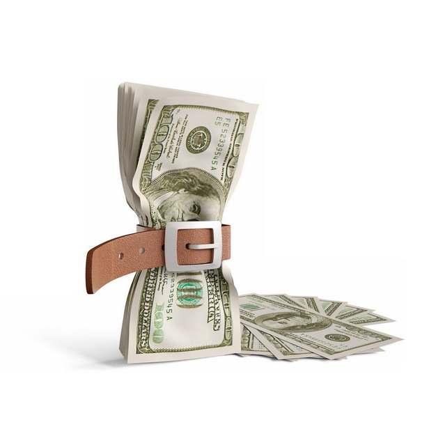 皮带捆住的美元钞票象征了经济股市危机574576png图片素材