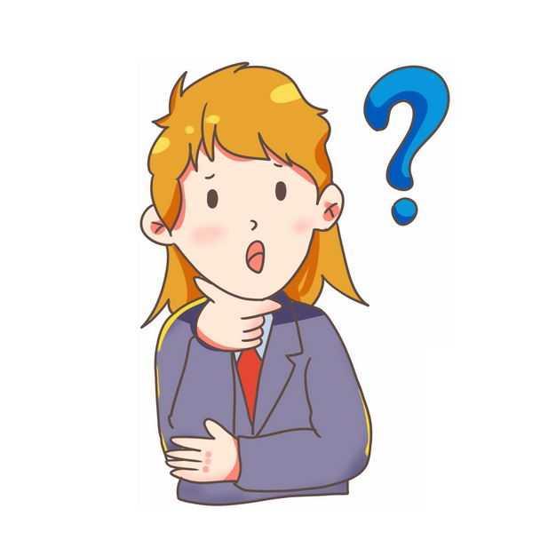 大大的问号和充满疑问的卡通年轻人371027免抠图片素材