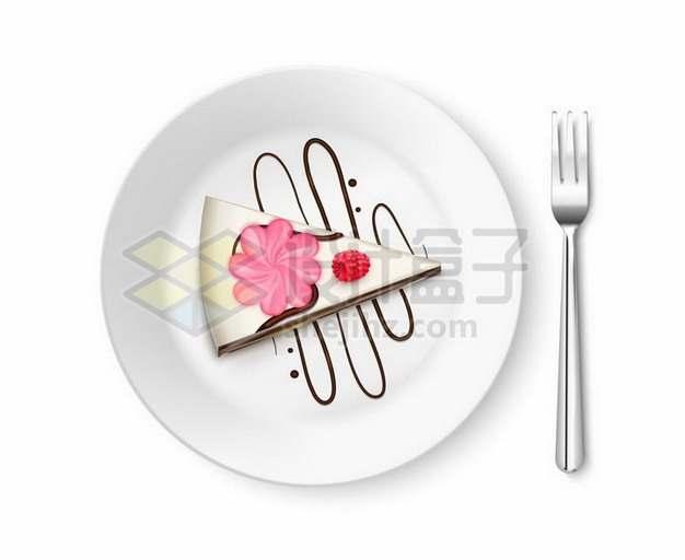 白色盘子中的奶油巧克力蛋糕和叉子美味西餐752135png矢量图片素材