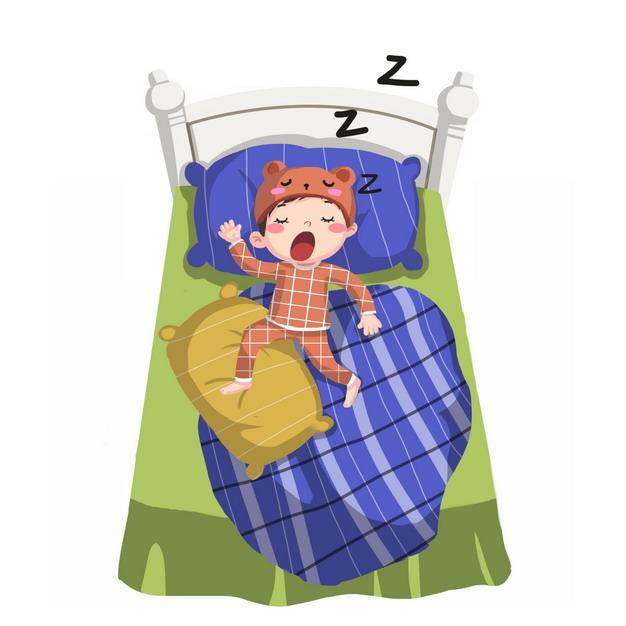 俯视视角躺在床上睡觉的卡通小孩蹬被子117769PSD图片免抠素材 休闲娱乐-第1张