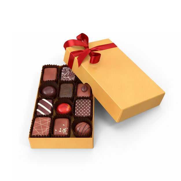 打开的黄色礼盒中的高档巧克力糖果美味零食740170免抠图片素材