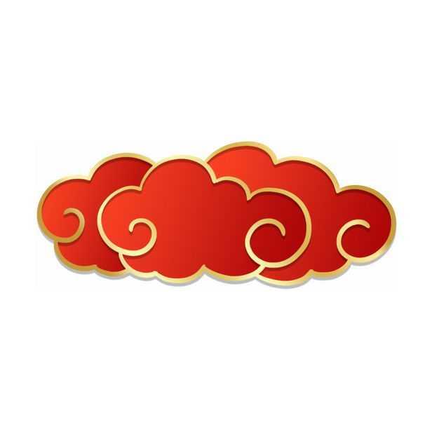 金边红色中国风祥云图案889629免抠图片素材