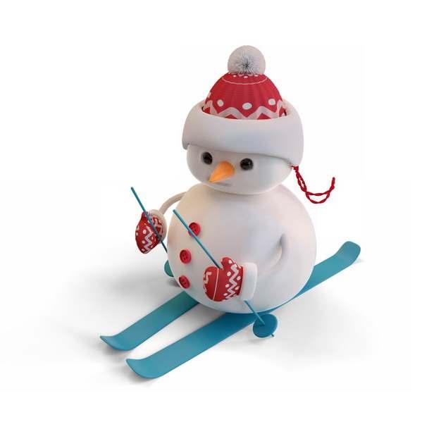 超可爱卡通雪人正在滑雪178350png图片素材