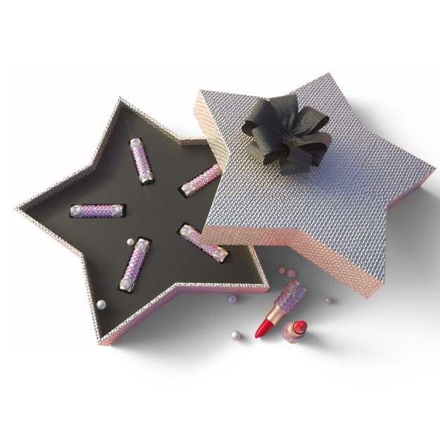 打开的五角星形礼物盒中的高档口红包装836053png图片免抠素材