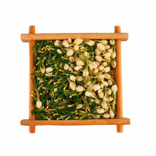木头盘子中的茉莉花茶和葛花茶等养生花茶462991png图片免抠素材 生活素材-第1张