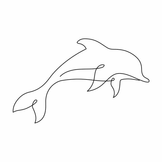 一根线条海豚手绘插画简笔画233302png图片素材