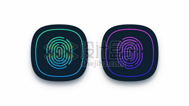 蓝色和紫色指纹识别图标圆角按钮222899图片素材 图标-第1张