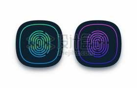 蓝色和紫色指纹识别图标圆角按钮222899图片素材
