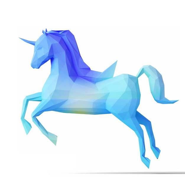 3D立体低多边形蓝色独角兽模型978502png图片素材