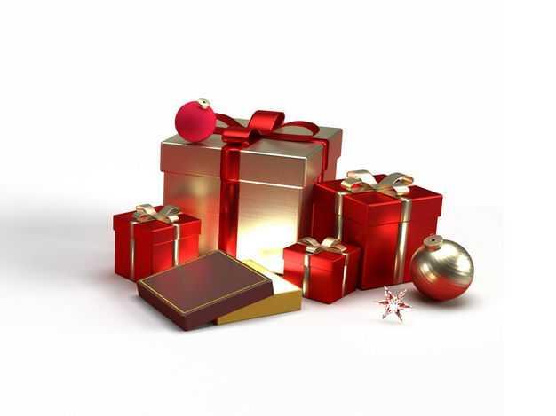 3D立体金色和红色圣诞节礼物盒382504PSD免抠图片素材