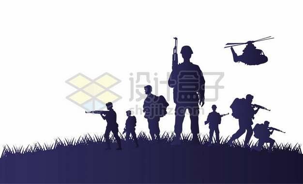 越南战争期间的美军士兵和直升机剪影876730图片素材