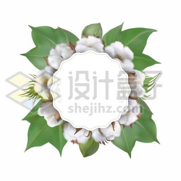 棉花和绿叶组成的标题框文本框714160图片素材