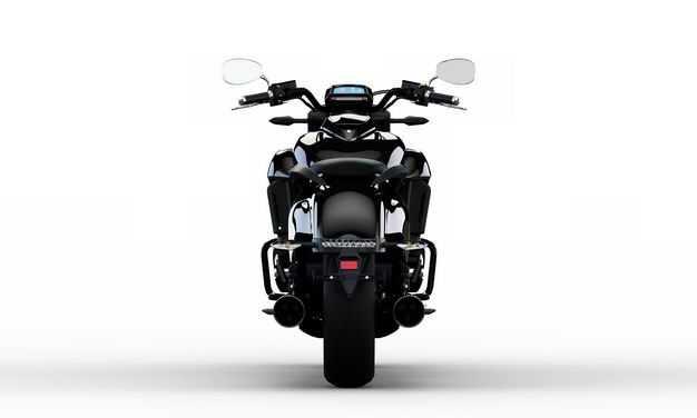 3D立体黑色重机车公路摩托车运动摩托车后面视角7762924png图片免抠素材