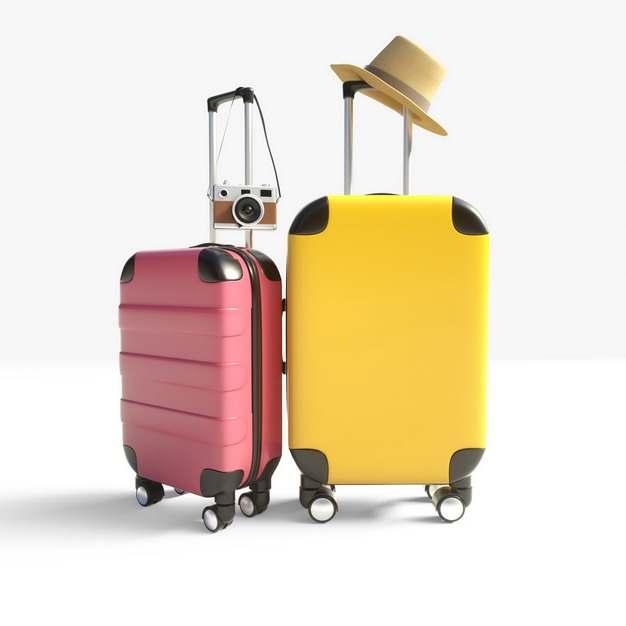 红色和黄色行李箱和遮阳帽等全球旅行227507png图片素材