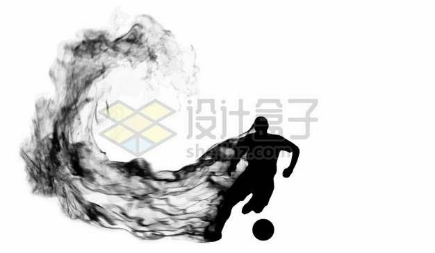 抽象创意足球运动员踢足球剪影烟雾效果908637图片素材
