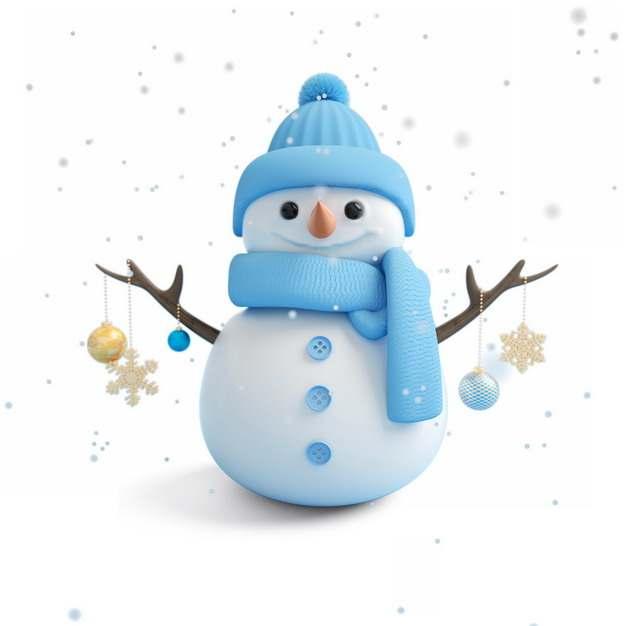 超可爱蓝色帽子和围巾的卡通雪人550049png图片素材