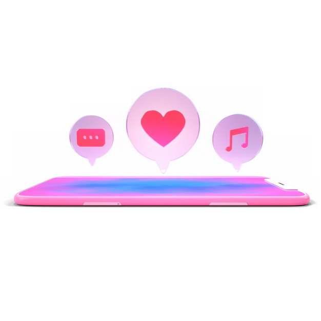 3D立体粉红色手机上冒出的红心短信音乐APP的泡泡649298png图片素材