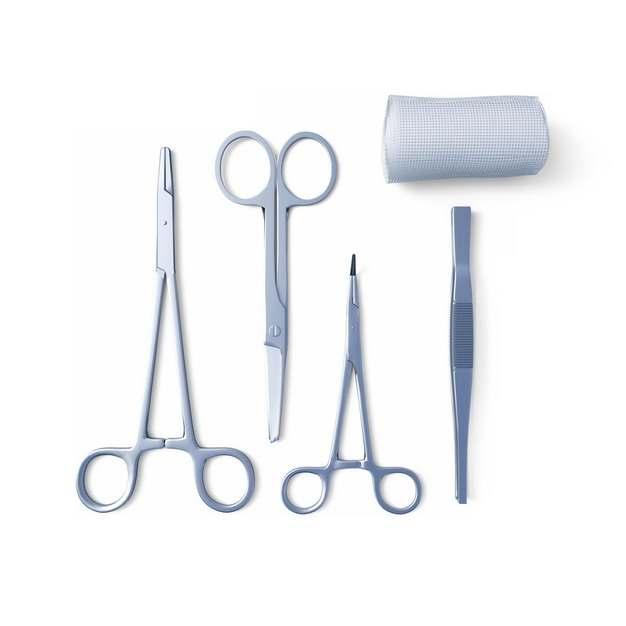 医疗剪刀镊子和医用纱布614671png图片素材
