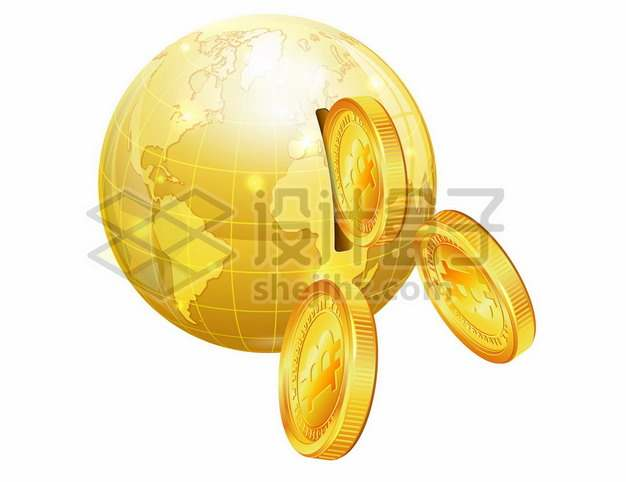 金色的地球模型储蓄罐和金色比特币硬币282817图片素材