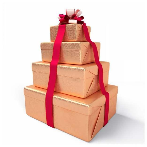 层叠堆起来的金色礼物盒415956png图片免抠素材