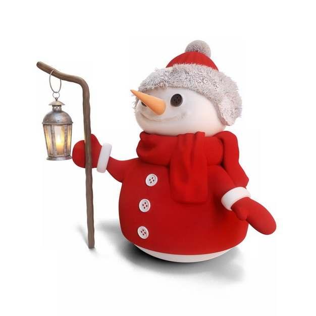 身穿红色衣服围巾的雪人打着油灯237686png图片素材