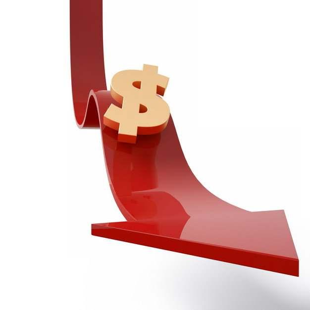 3D立体下滑的红色箭头和美元符号标志象征了经济股市危机751496png图片素材