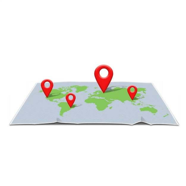 3D立体风格展开世界地图上的红色定位标志925685png图片素材