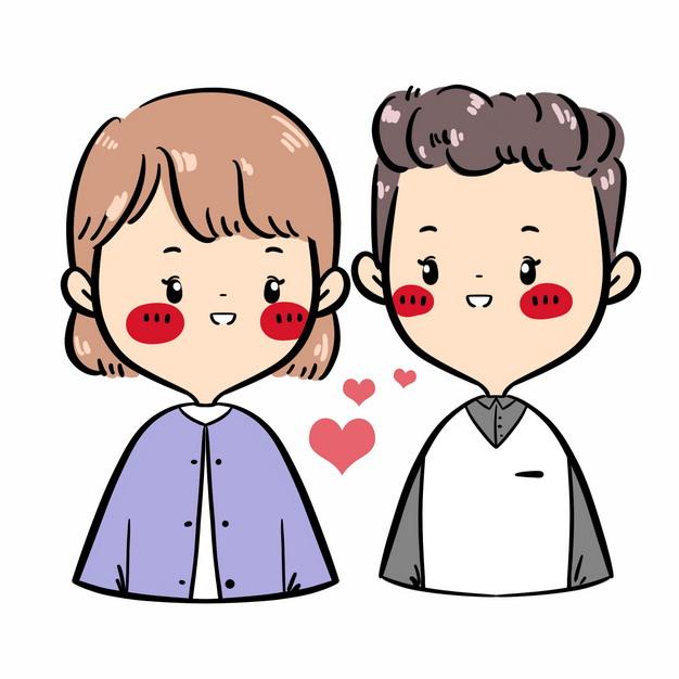 可爱的情侣发出爱心卡通人物画像412131PSD图片免抠素材