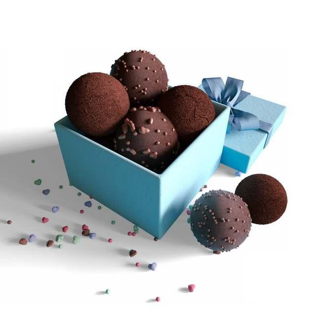 装满巧克力球的蓝色礼盒180789png图片素材