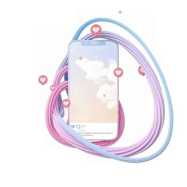 抽象3D立体线条图案包围着手机763595png图片素材