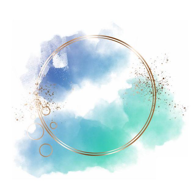 金色圆形边框和蓝色绿色墨水渍装饰361879免抠图片素材