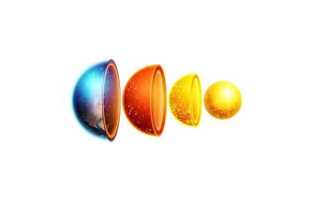分离的3D立体地球内部结构地壳地幔地核等地球圈层278495png免抠图片素材