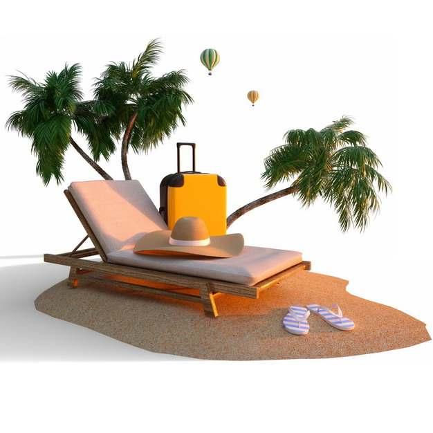 沙滩上的椰子树躺椅遮阳帽沙滩鞋和旅行箱等热带海岛旅游769498png图片素材