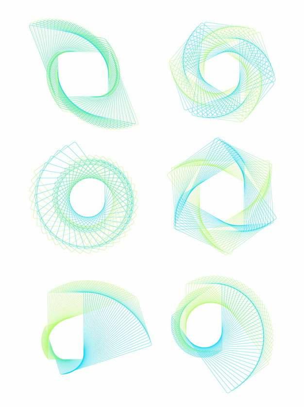 六款蓝绿色线条组成的抽象图案862823png图片素材