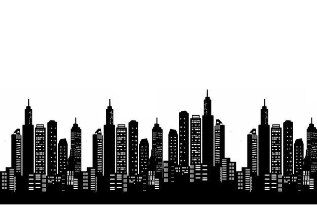 黑白色城市天际线高楼大厦剪影png图片免抠素材 建筑装修-第1张