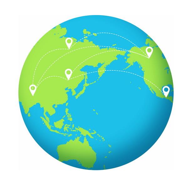蓝色地球和绿色陆地上的定位图标和航线480087PSD图片免抠素材