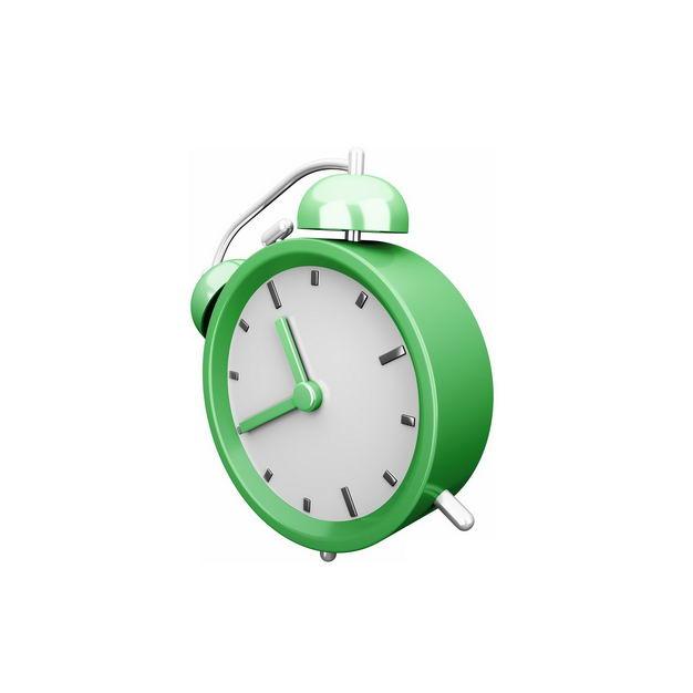 3D立体绿色的闹钟198356PSD免抠图片素材 生活素材-第1张