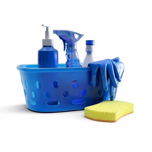 蓝色塑料篮子中的洗涤剂清洁剂和橡胶手套以及海绵百洁布海绵擦948977png图片素材