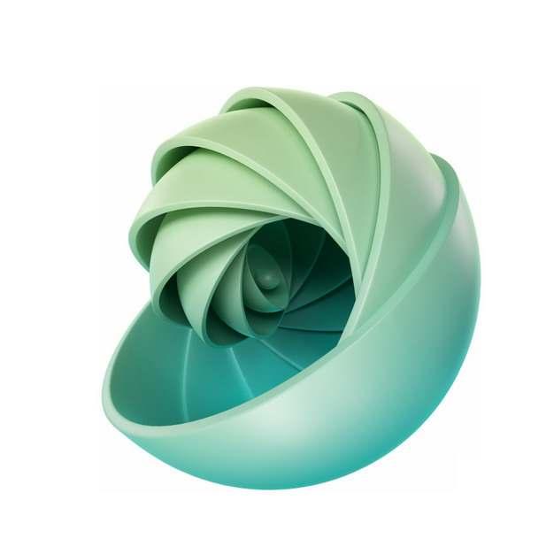 绿色抽象3D立体贝壳图案501561png图片素材