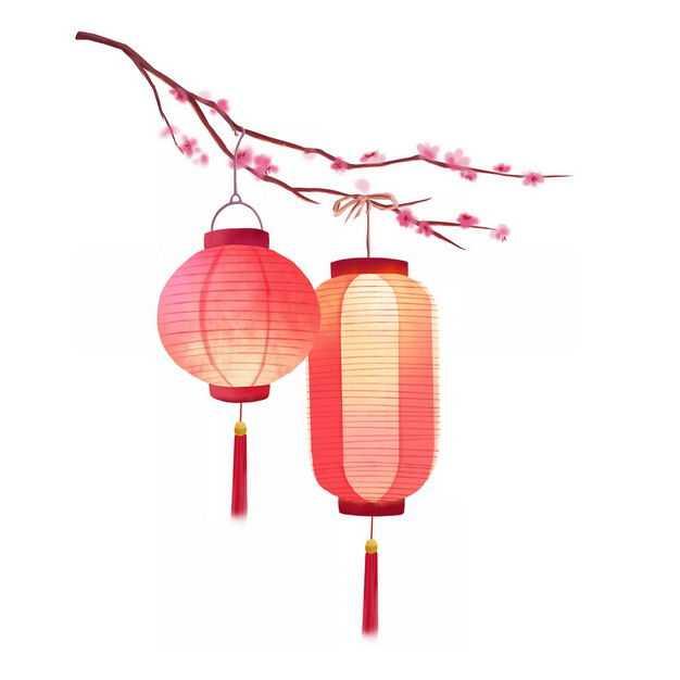 梅花枝头上挂着的两个红色灯笼插画199615免抠图片素材