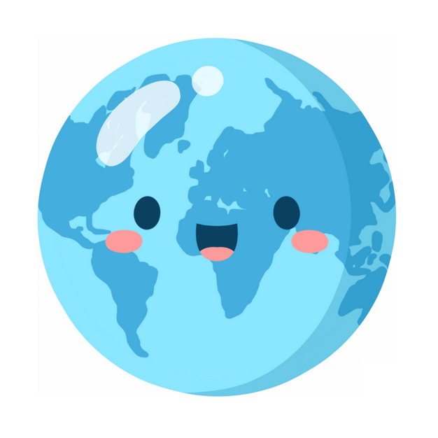 超可爱蓝色卡通地球736259PSD图片免抠素材 科学地理-第1张